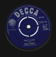 BILLY FURY That's Love Vinyl Record 7 Inch Decca 1960